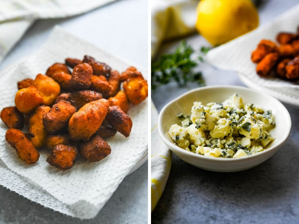 crispy fried sweet potato gnocchi and crumbled blue cheese.