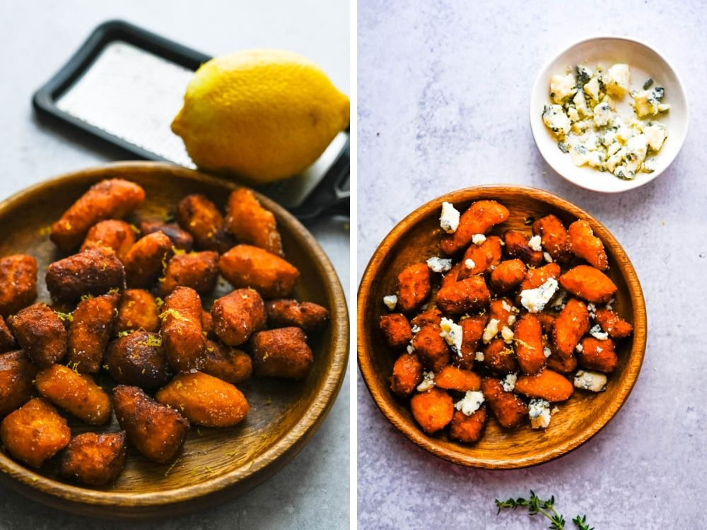 sweet potato and blue cheese gnocchi with lemon zest on a plate.