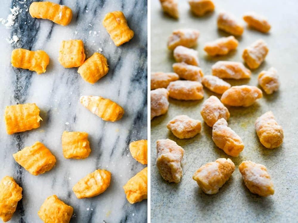 frozen sweet potato gnocchi being thawed for gnocchi appetizer.