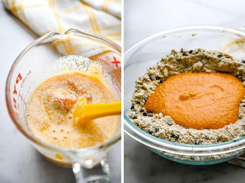 adding wet ingredients to pumpkin muffin recipe.