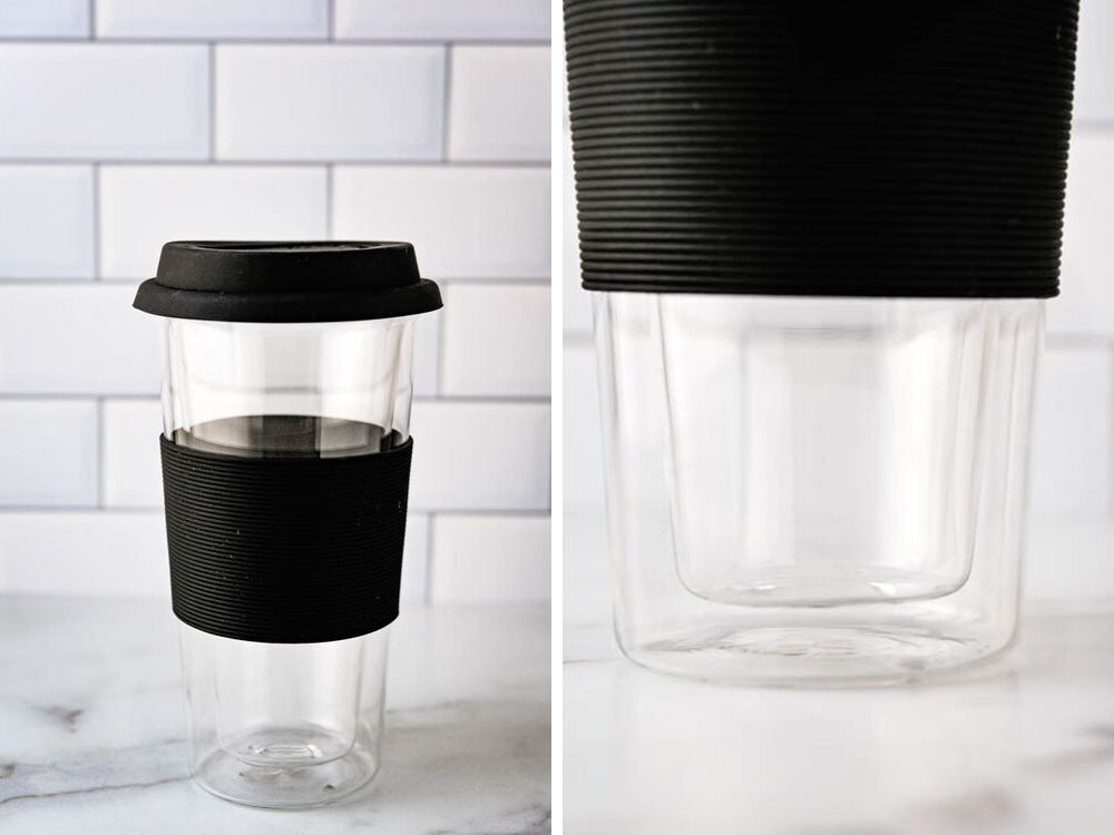 glass coffee cup with lid and close up of the double walled system.