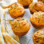 maple walnut breakfast muffins on a wire rack.