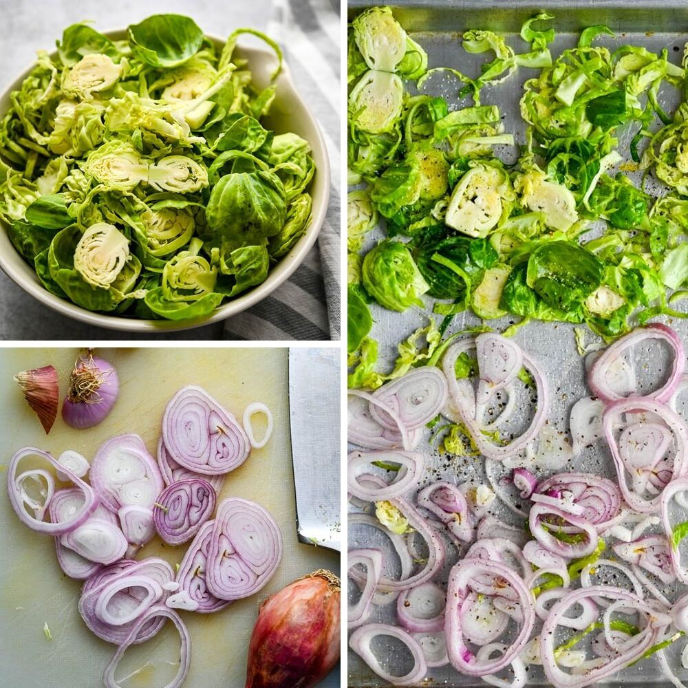 shaved brussel sprouts and shallots for roasted fall vegetables.
