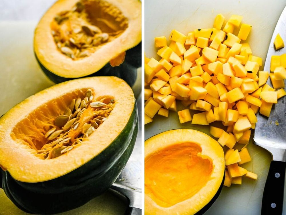prepping acorn squash for roasted fall vegetables.