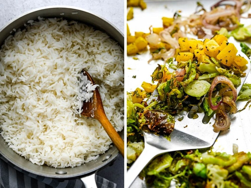 steamed basmati rice and roasted fall vegetables for Basmati rice pilaf