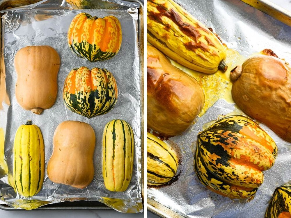 roasting squash for pumpkin squash soup.
