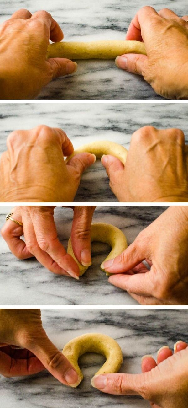 """This holiday baking project is easy. Just roll each piece of almond crescents dough into 4"""" ropes and shape into the traditional crescent cookies form."""