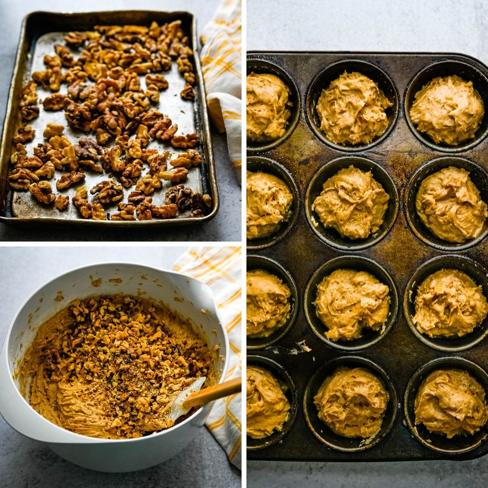 adding toasted walnuts to the maple walnut batter and spooning into baking tins.