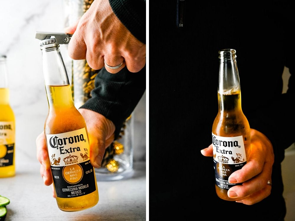 Popping open a bottle of beer to enjoy at the party.