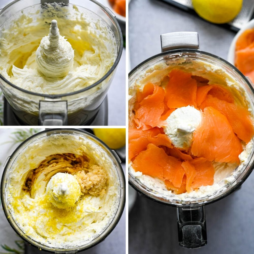 pulsing the smoked salmon appetizer in a food processor