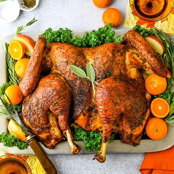 Spatchcock Grilled Turkey with Cider Gravy