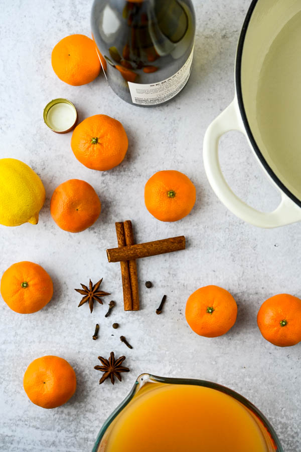 clementines, lemons, whole spices, wine and apple cider.