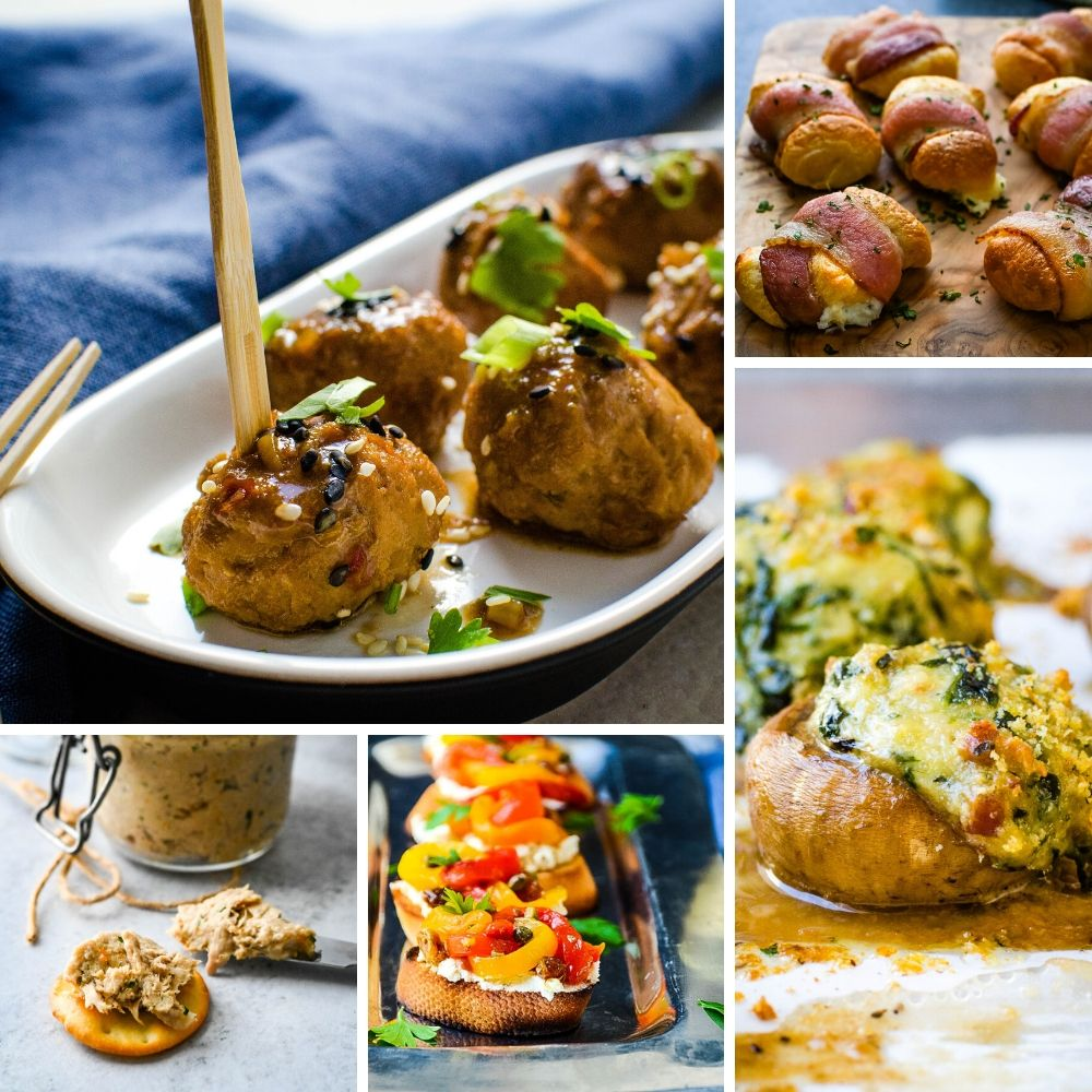 holiday appetizers collage with meatballs, stuffed mushrooms, bruschetta crostini and party bites.