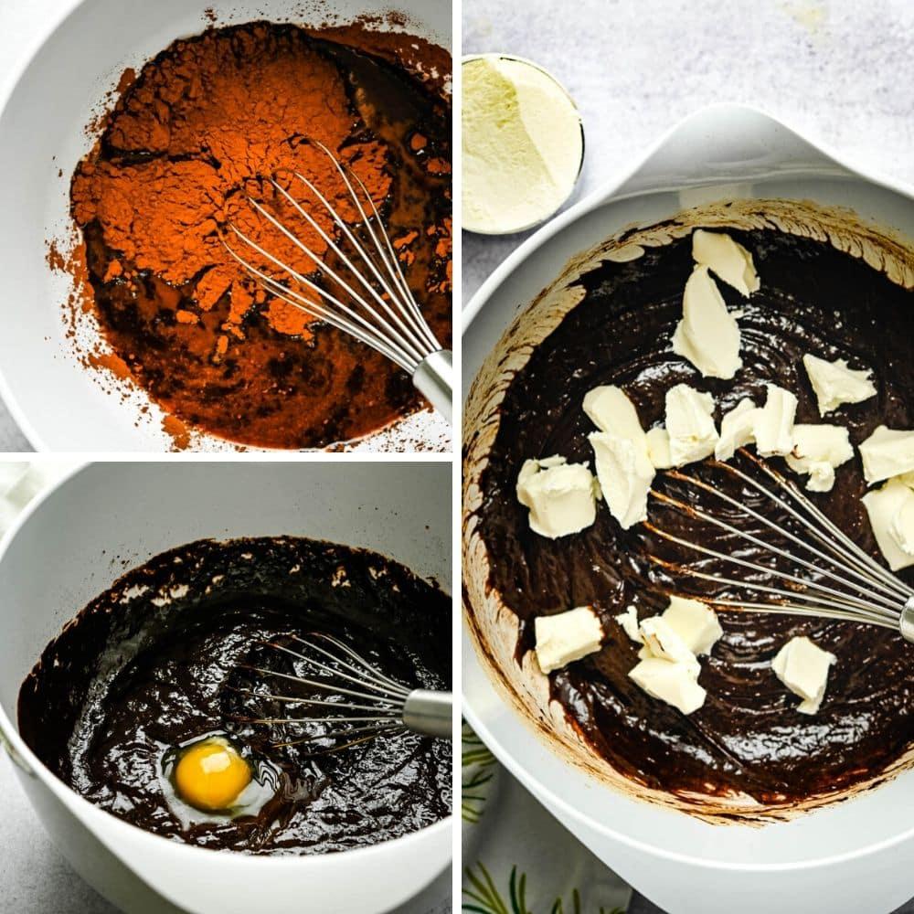 making fudge tart batter and adding cream cheese.