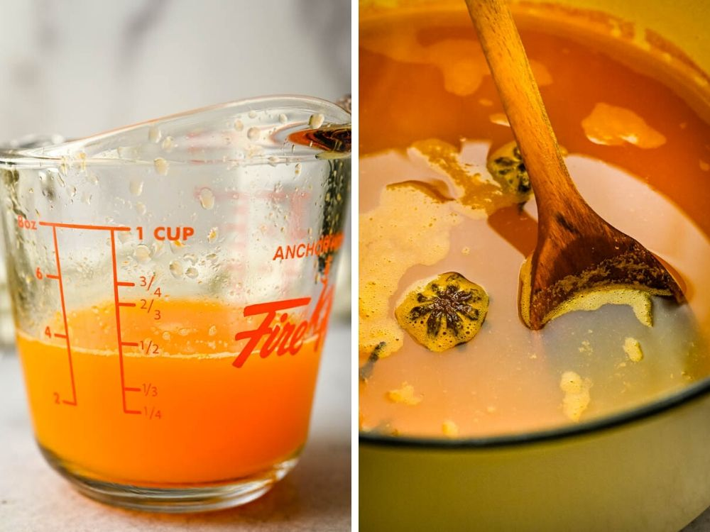 adding fresh clementine juice to the spiked apple cider.