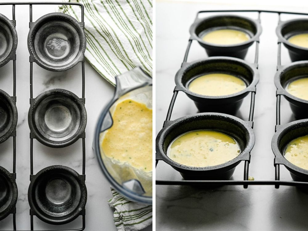 preparing the popover pan and pouring in the batter.