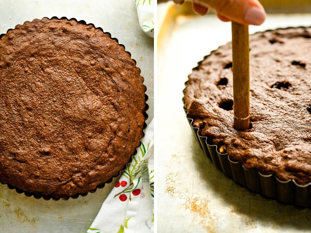 Creating wells for ganache in fancy dessert recipes is easy with a wooden spoon.