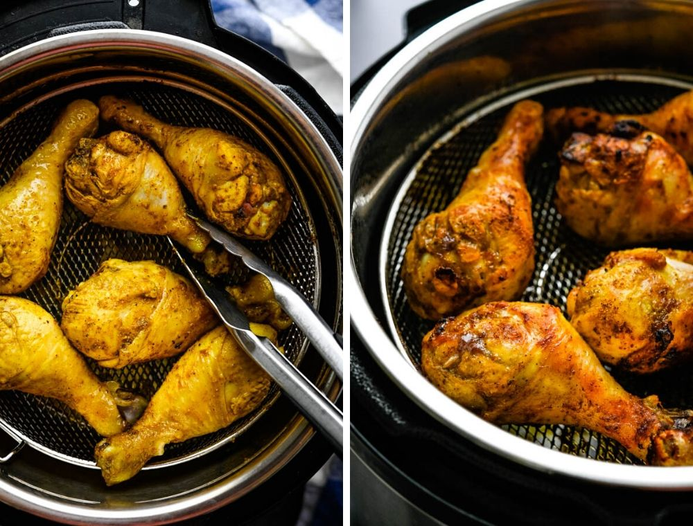 Instant Pot air fryer making the chicken.
