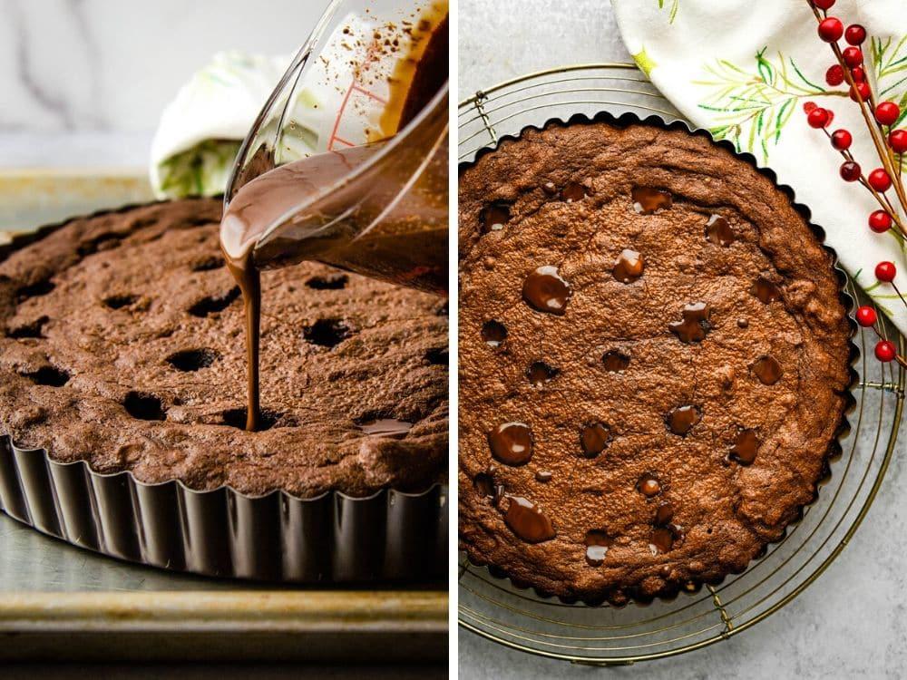 Filling this fancy dessert recipe with divots of dark chocolate fudge ganache makes brownie pie a decadent treat.