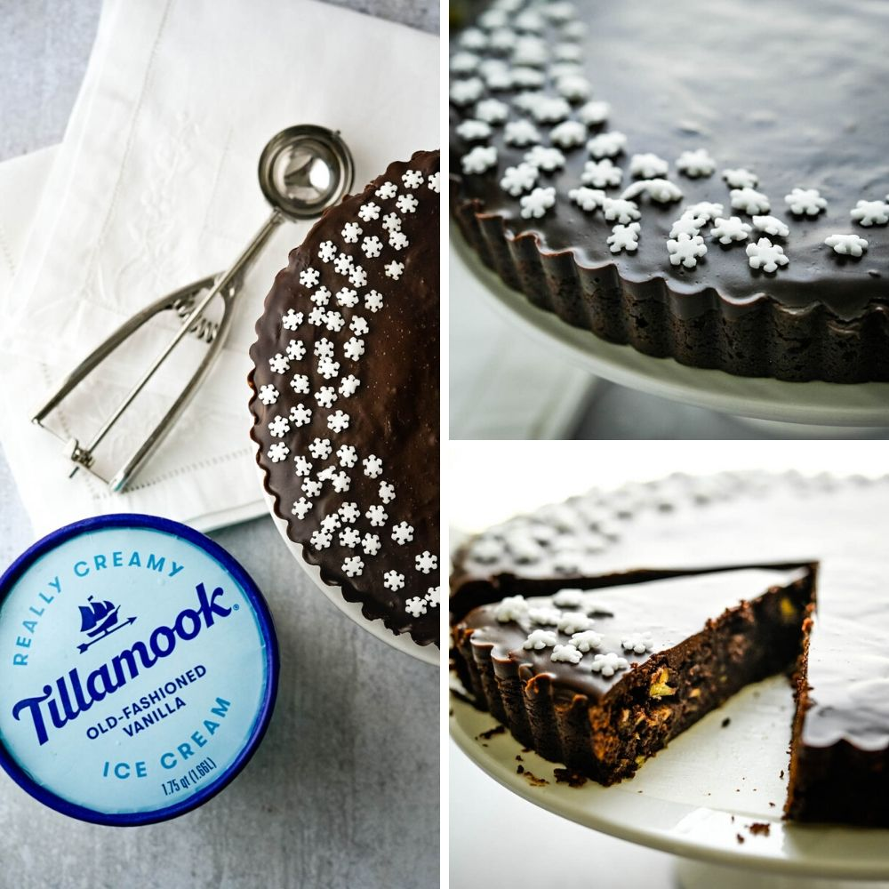 If you like easy fancy dessert recipes, this is it. Slicing the fudge tart and serving with a scoop of vanilla ice cream.