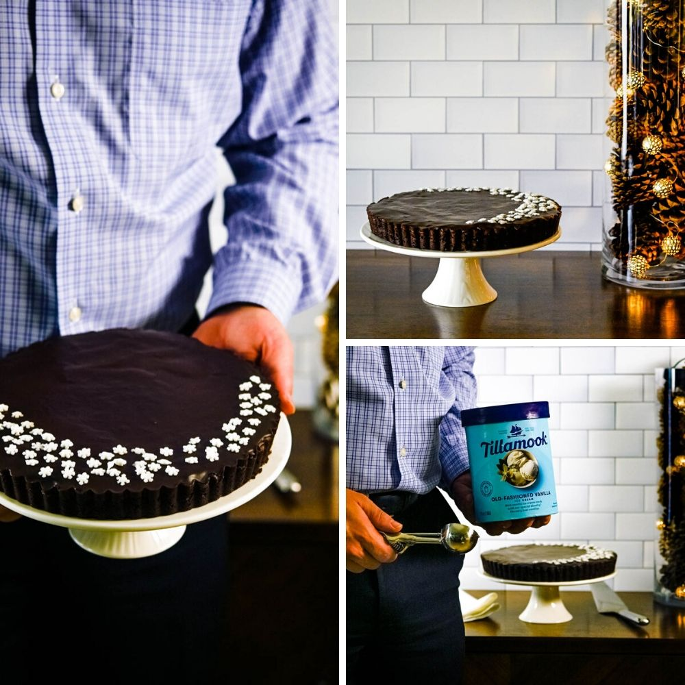 Serving Death By Chocolate Fudge Tart on a cake stand with Tillamook Vanilla Ice Cream.