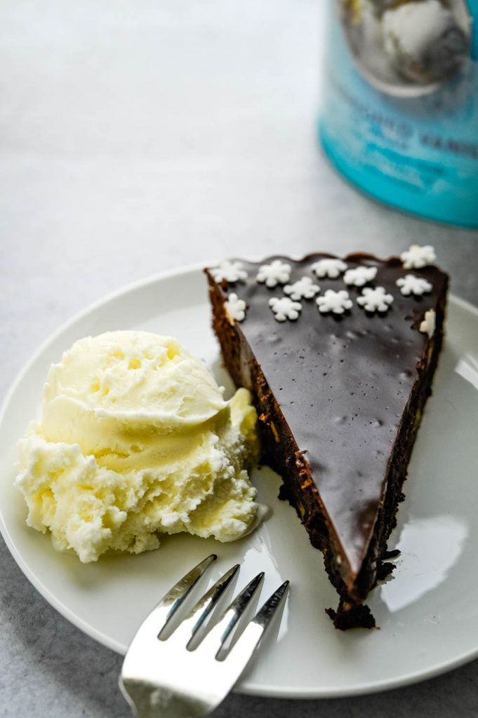 This brownie pie is a chocolate dessert recipe is made better with Tillamook Ice Cream.