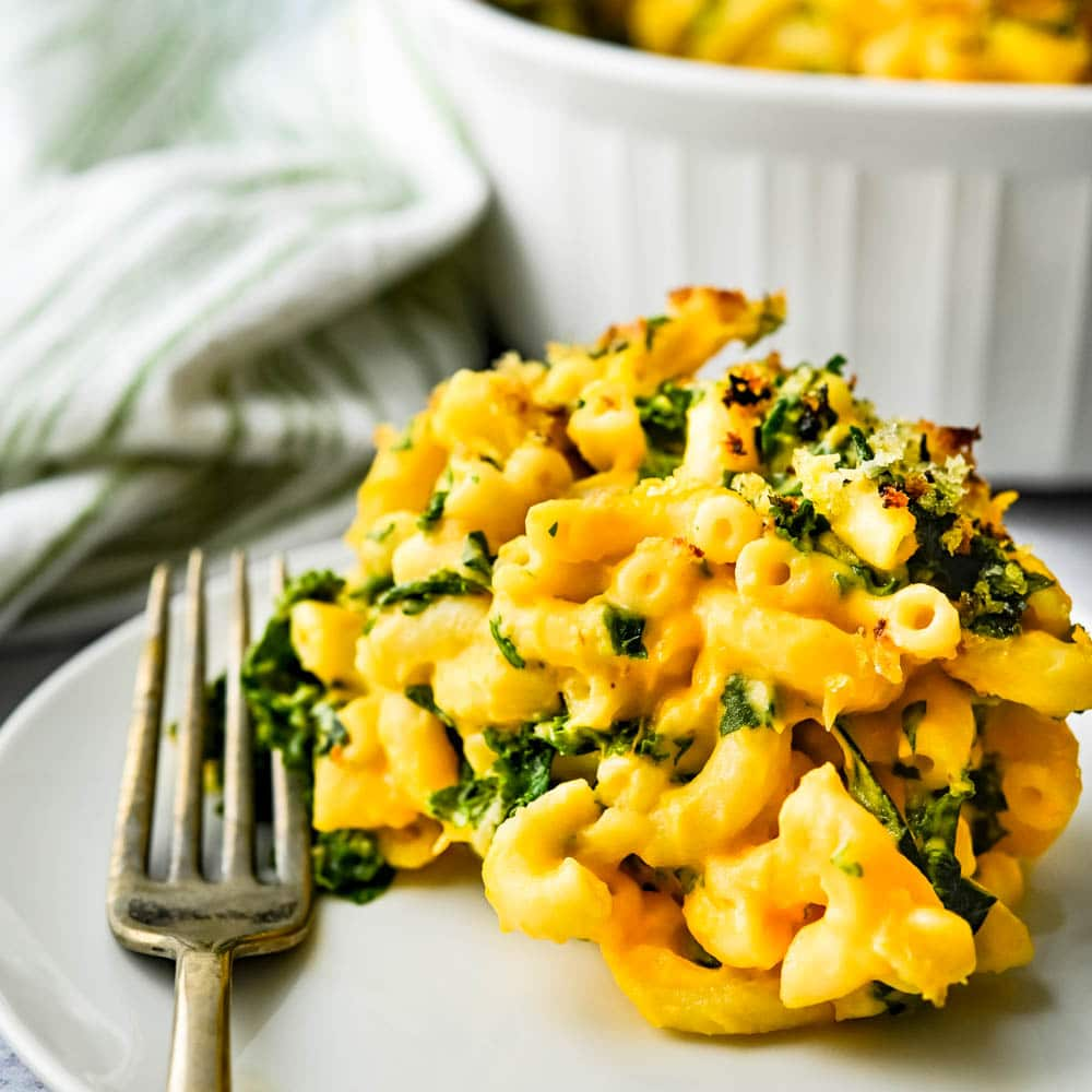 butternut macaroni and cheese with kale.