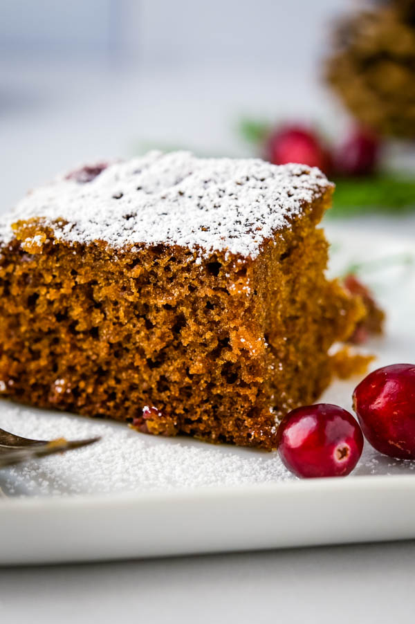 A slice of the easy gingerbread recipe with a sprinkle of powdered sugar.