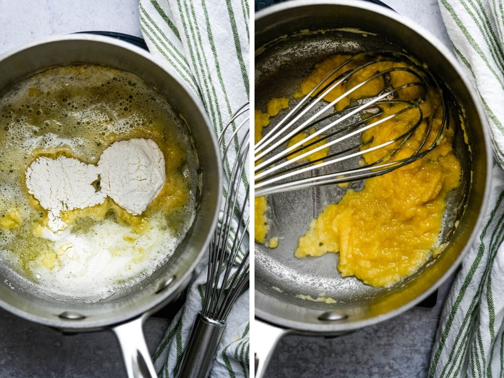 Making a roux in a saucepan.