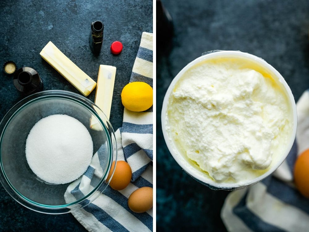Ricotta Cheese and other ingredients for Italian Ricotta Cookies with perfect glaze.