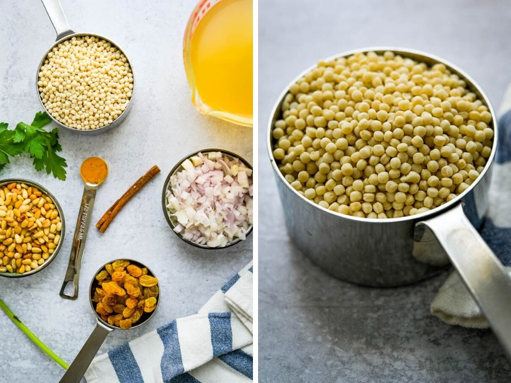 pearl couscous recipe with all the ingredients.