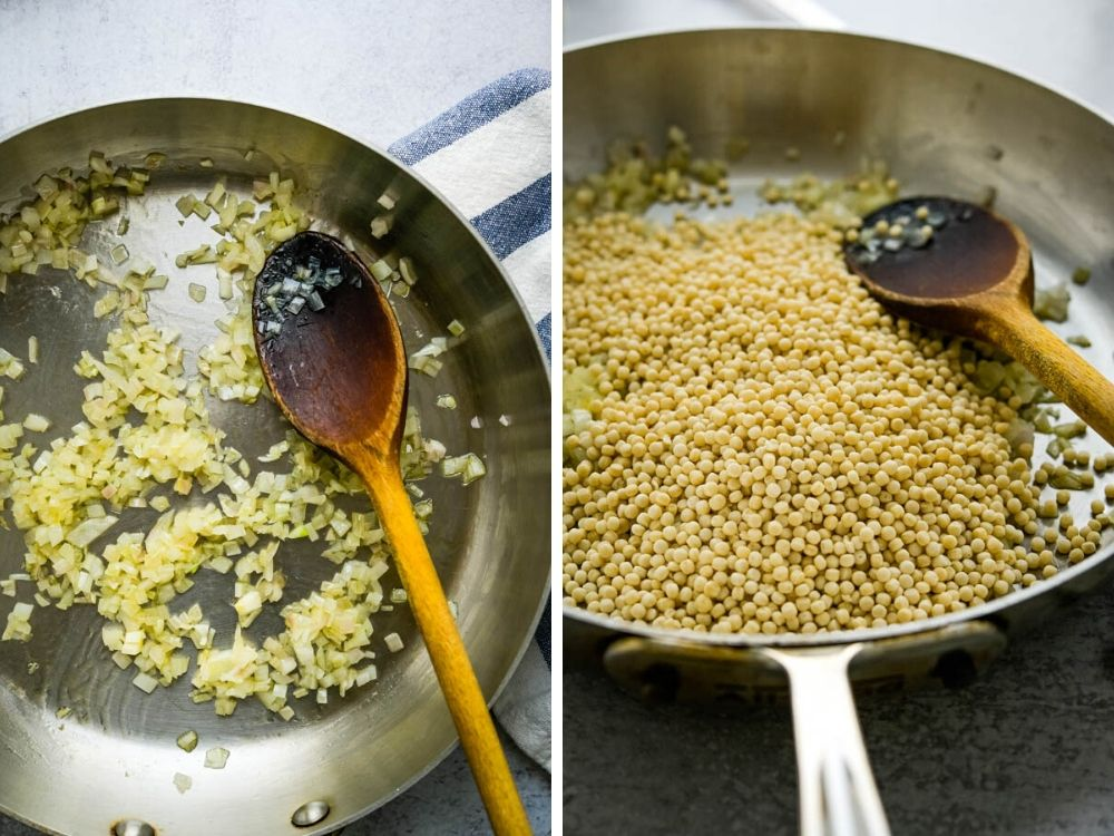 toasting pearl couscous pasta in a pan with onions