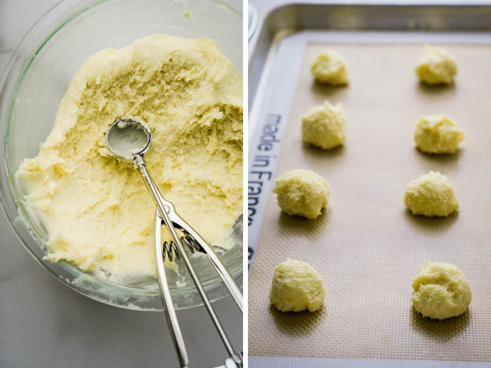 scooping Christmas cookie dough onto a baking sheet.