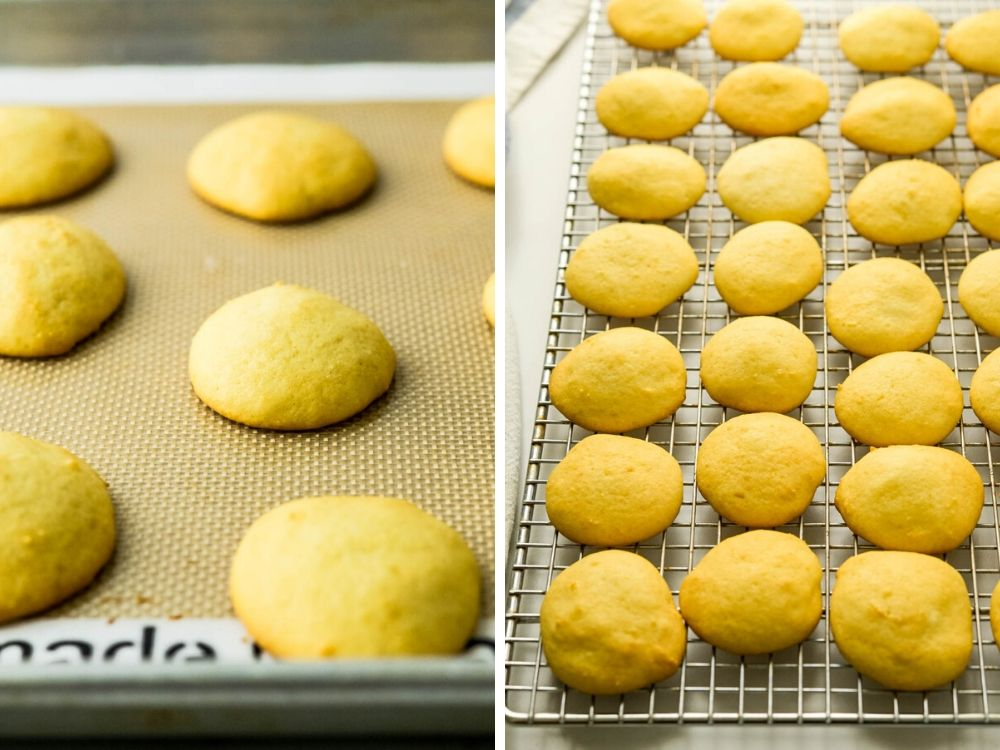 Italian ricotta cookies after baking and cooling on a rack.