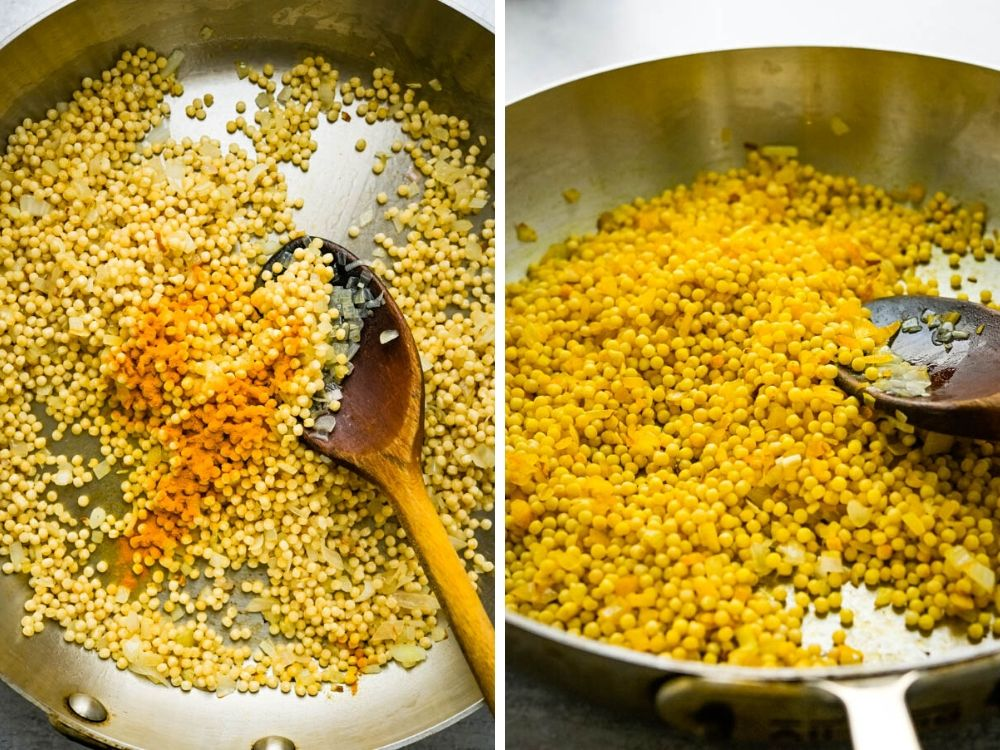 adding turmeric seasoning for the healthy couscous recipe.