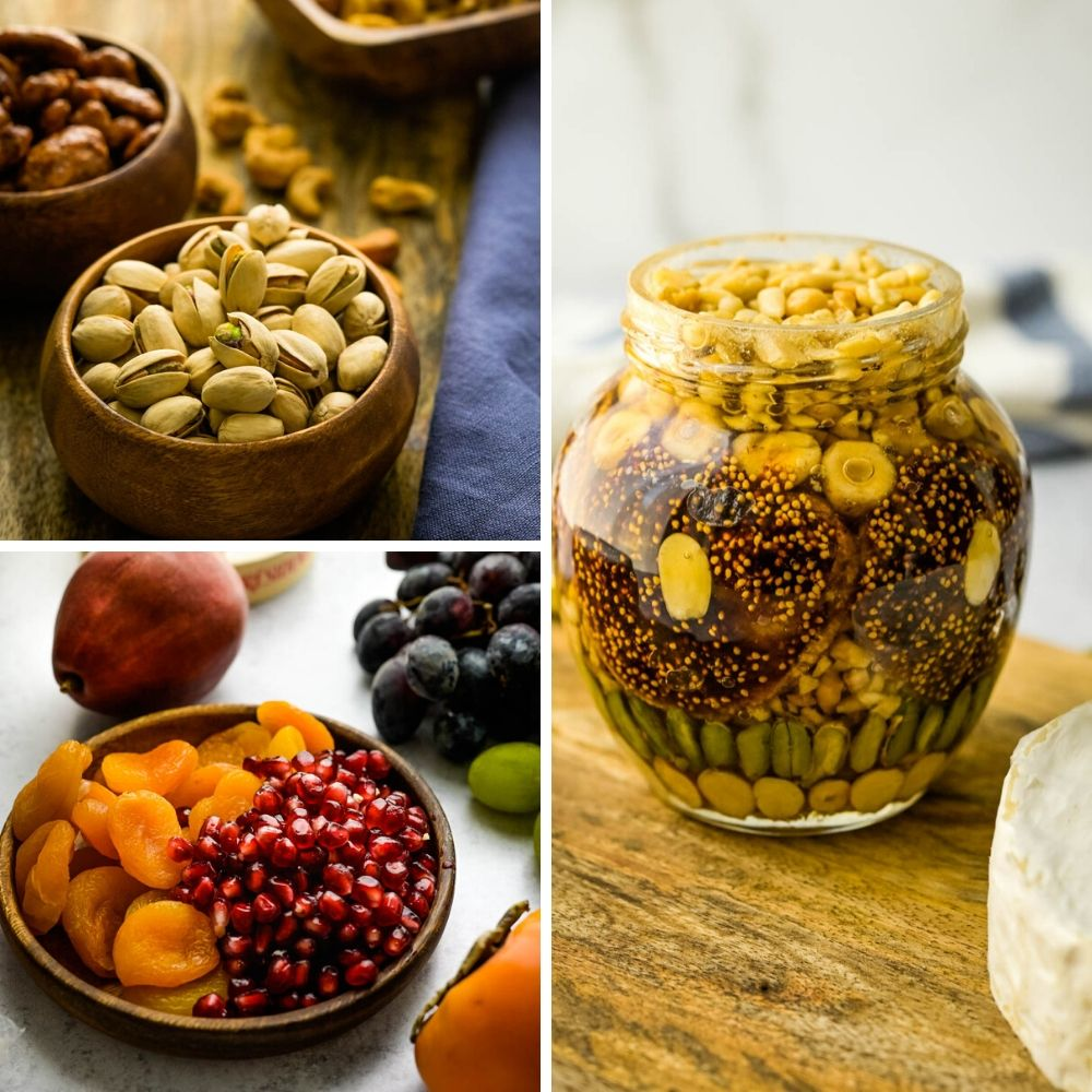 nut and honey jar, pistachios and dried and fresh fruits make this christmas cheese board festive.