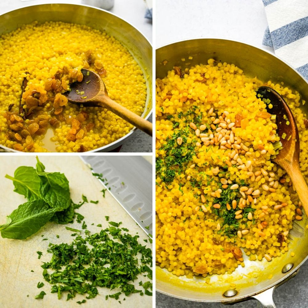 adding raisins, pine nuts and mint to the healthy turmeric pearl couscous recipe.