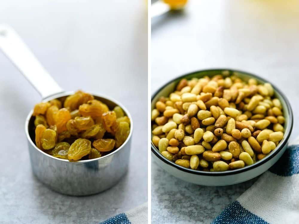 golden raisins and pine nuts