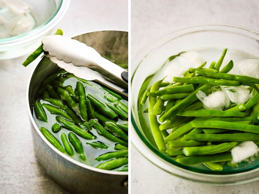 blanching green beans and shocking them in ice water to stop the cooking.
