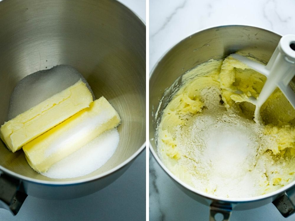 creaming butter and sugar and adding flour for freezer cookies.