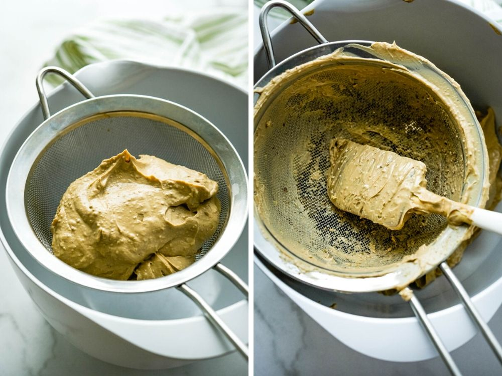 straining liver spread through a fine mesh strainer - to make gourmet appetizers for a fancy party.