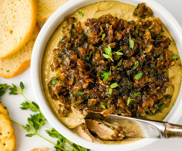 Chicken Liver Pate with Brandy and Quick Caramelized Onions