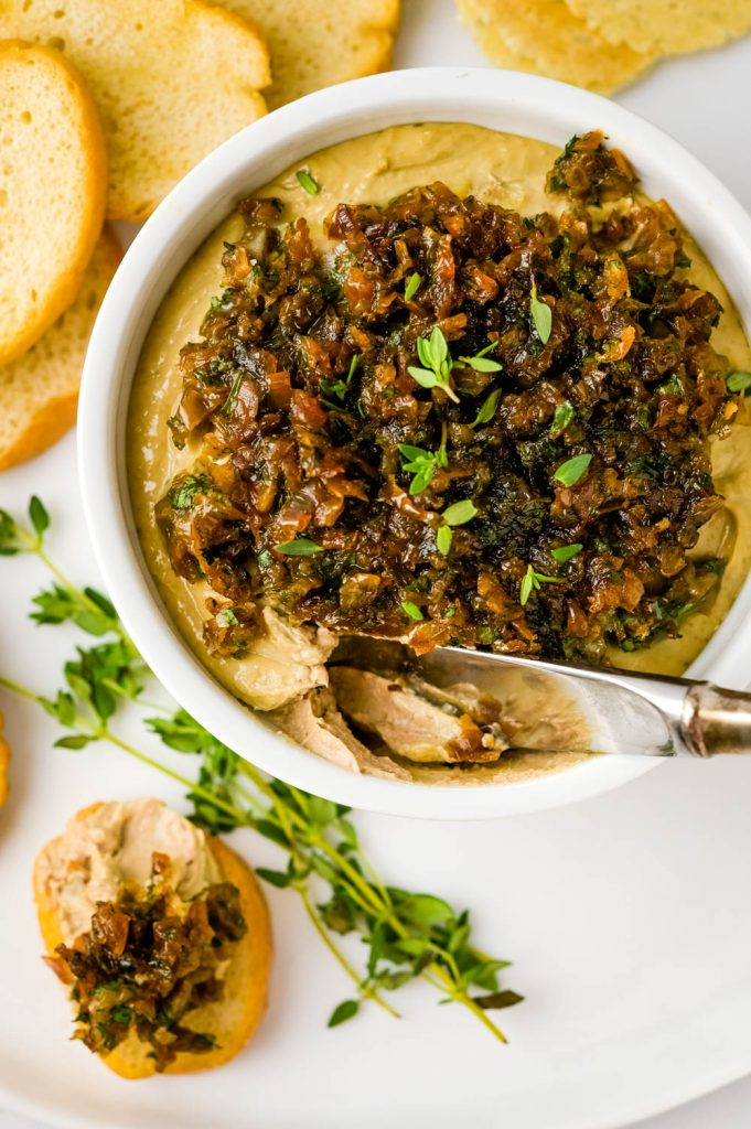 Dipping into creamy chicken livers with quick caramelized onions.