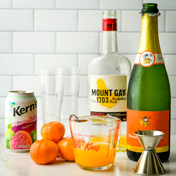 tangerine juice, guava nectar and champagne for brunch cocktails.