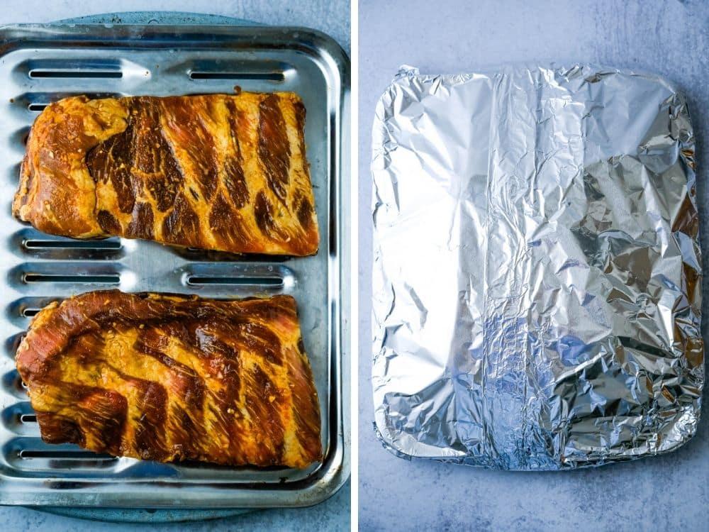 par-baking the Korean pork ribs on a broiler pan wrapped in foil.