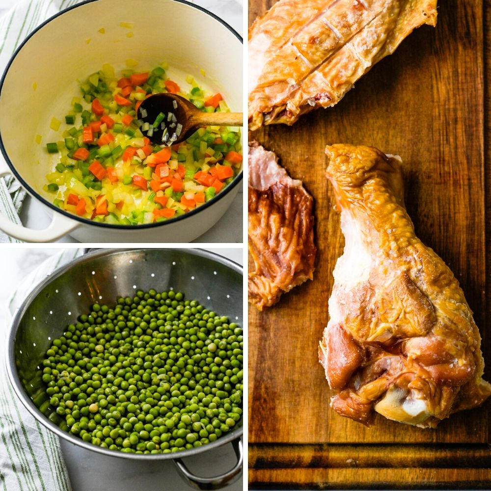 Sauteing vegetables, draining whole green peas and cutting a smoked turkey wing.