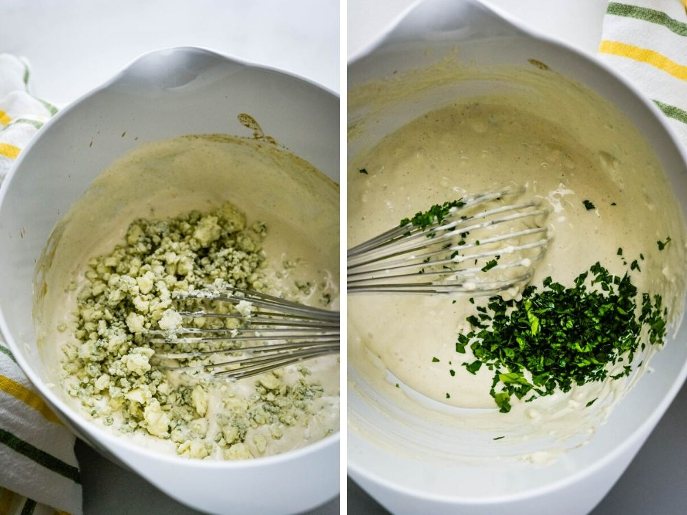 adding blue cheese and parsley for chunky blue cheese dressing