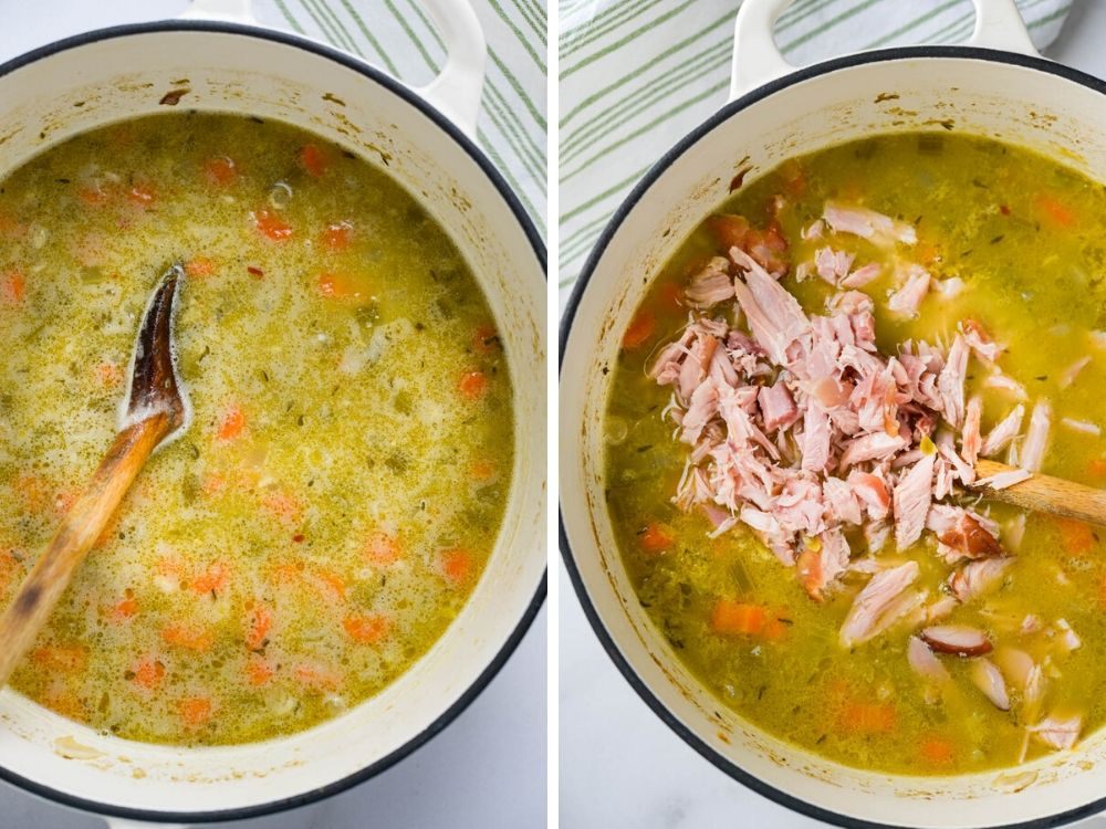 Add the pureed green pea soup back to the pot. Remove the meat from the smoked turkey wing. Shred it and add it back to the pot.