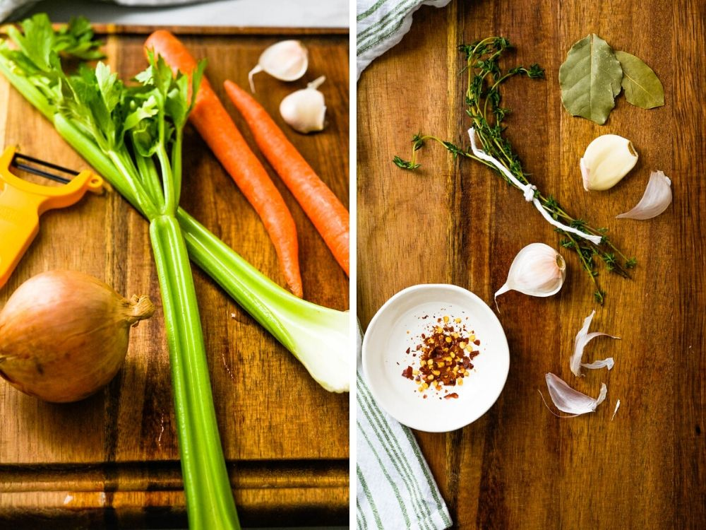 Celery, Carrots, onion, garlic and herbs for the green pea soup