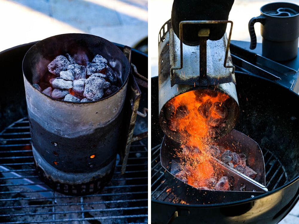 lighting the charcoal and pouring it into charcoal holders.